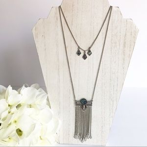 American Eagle Silver Tone Fringe Double Necklace